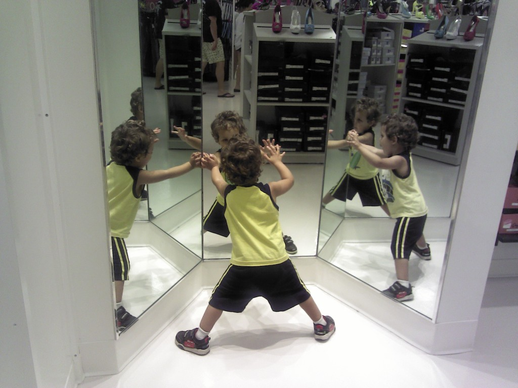 Boy in mirrors
